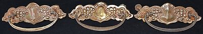 Brass Ornate Drawer Pulls Vintage Set of 3