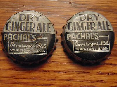 Two Pachal's Dry Gingerale Cork Lined Bottle Caps Yorkton Sask