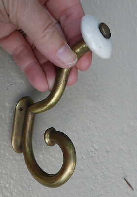 Brass Front Mount Coat Rack Hook Porcelain Knob Jacket Hat Clothes Robe Belt 5""