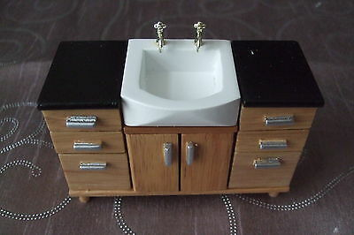 Dolls House Kitchen   1.12 Scale Miniature - Sink Unit With Opening Drawers