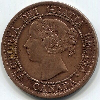 1859 (Near 9) CANADA ONE CENT Coin - Beautiful Obverse
