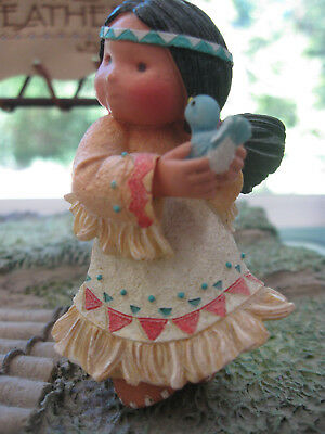 Friends Of The Feather - Cute Little Indian Girl w Bluebird Figurine - Enesco
