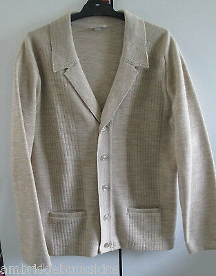 Vintage Crestknit Pure Wool Retro Knit Cardigan Size 16 Beige Button Front Pocke