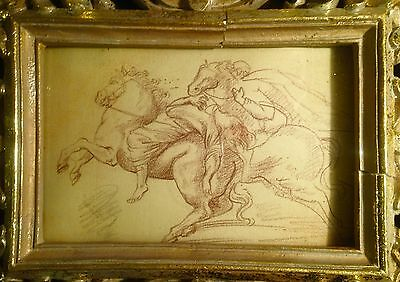 Old Master Drawing Riders Signed Brown chalk on laid paper