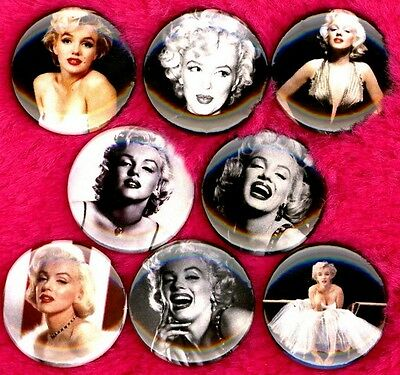 Marilyn Monroe set of 8 NEW 1 inch pins buttons badges stocking stuffer