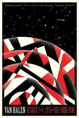2015 Van Halen Hollywood Bowl Guitar Graphic Concert Tour Poster 10/2 4 La S/n