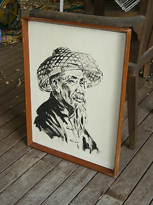 1960s 70s Asian art Canvas Painting Chinese Wise Old Man Vintage Ho Chi Minh