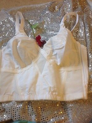 Vintage Playtex Cross Your Heart 235 Longline Cotton Mix Bra. 9 Hooks & Eyes 38C