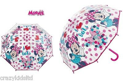 Disney Minnie Mouse Transparent Bubble Umbrella Brolly To School For Girls Gift