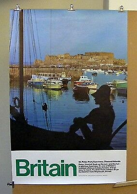 Vintage 1970 BRITAIN St Peter Port Harbour GUERNSEY Boats Holiday Travel Poster