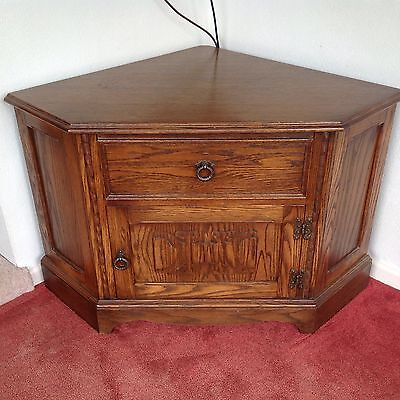 Oak TV Corner Entertainment Unit Cupboard, Part Of Set 2/3