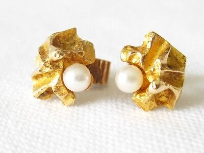 Ohrstecker LAPPONIA Gold 585 Perle Ohrschmuck Designer 14k Ear plug Earrings