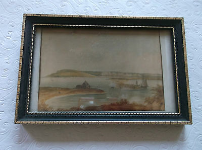 FRAMED MINIATURE PAINTING SMALLMOUTH FERRY 1807 circle of JOHN WILLIAM UPHAM