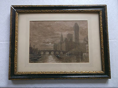 Framed Watercolour Painting By Henry Cundell 1810-1886 Westminster From Thames