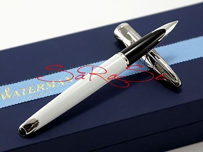 Waterman Carene Füller Fountain Pen Lack Weiss & Gunmetal 18Kt. Feder Neu