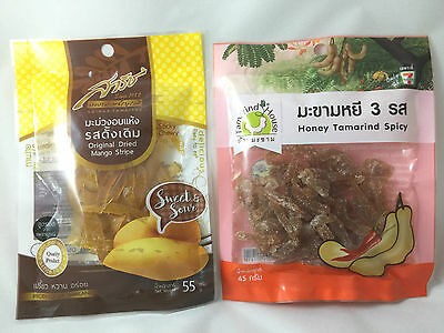 2 Packs Dehydrated  100% Natural Spicy tamarind Mango dried fruit Candy Snack