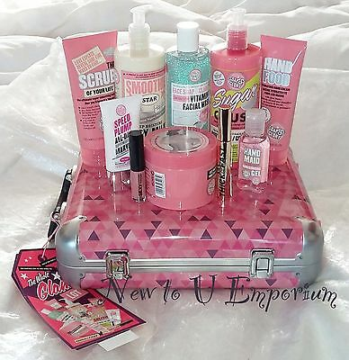 Soap & Glory~The Whole Glam Lot Large Xmas Gift Set In Retro-Style Case-NEW