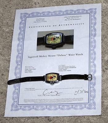 Ex! Disney 1937 Ingersoll Mickey Mouse Wristwatch+Leather Band-All Original+Coa