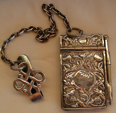 Old Silverplated Chatelaine Dance Card Holder Plus A Pencil