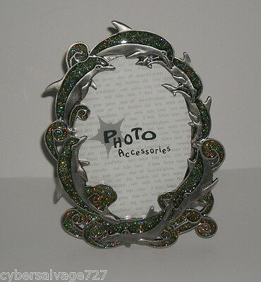 "Beautiful Dolphin Theme 3.5"" x 5"" Photo Picture Frame - Pewter & Glass w/ Bling"