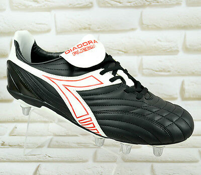 DIADORA RUGBY LOW R SC 8 Mens Black PRO Changeable Studs Rugby Boots Shoes