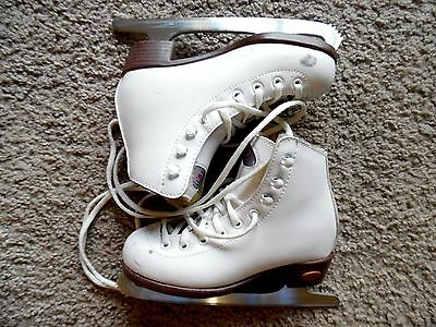RIEDELL WHITE ICE FIGURE SKATES YOUTH  J12 7 1/3 blade