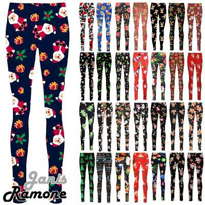 16ce93a574aded New Womens Santa Snowman Gift Print Xmas Slim Fit Skinny Christmas Leggings  Pant