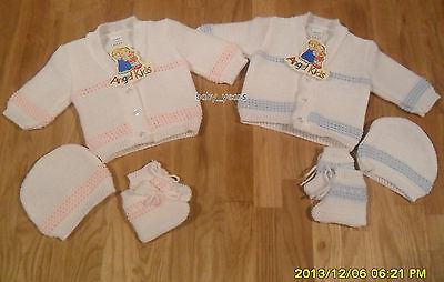 Baby 3 Piece Knitted Cardigan Hat And Booties Set Boys Girls Pink Blue Gift New