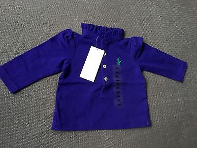 Ralph Lauren 3m LS shirt top designer ruffled purple baby girl 000 00 Xmas gift