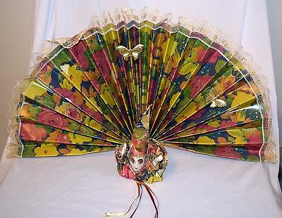"EUC Hanging Folding Fan W/ Porcelain Clown Figurine Head Hands ~11x15"" Taiwan"