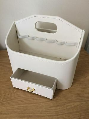 Lakeland Cream Faux Leather Make Up Storage Caddy With Drawer & Handle - New