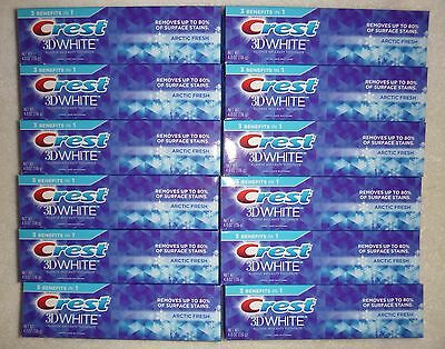 Lot of 12 Crest 3D White Toothpaste - Arctic Fresh - 4.8 oz Each