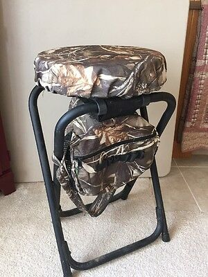 Cabela's Portable Folding Hunting Round Stool With Compartment Bag