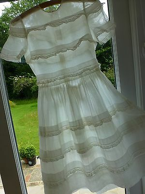 Vintage 1930's 40's 50's childs girls voile organza dress lace trim
