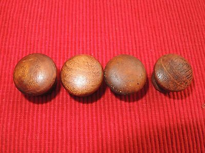 "Set Of 4 Small Antique Victorian Wooden Drawer Knobs Pulls 1"" D Pine"