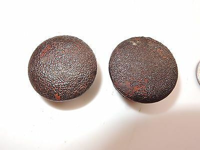 "2 Antique Victorian Wood Drawer Knobs Pulls 1 1/4"" D Mahogany Walnut Empire S3"