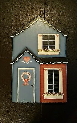 "8"" x 5"" Handcrafted 1987 Wooden Wall Plaque Country Cottage House Building"