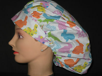 715f5bfd940 Surgical Scrub Hats/Caps Easter Bunnies in patchwork designs on white fabric
