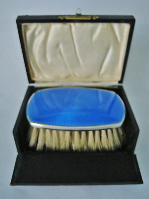 Sterling Silver & Blue Guilloche Enamel Clothes Brush 1926 ~ Small Cased Example