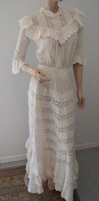 Edwardian Tea Wedding Dress Train Ruffles Fine Lace Pin Tuck Pleats sz XS