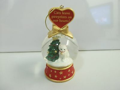 Danbury Mint CATS Leave Pawprints On Our Hearts! SNOW GLOBE CHRISTMAS ORNAMENT