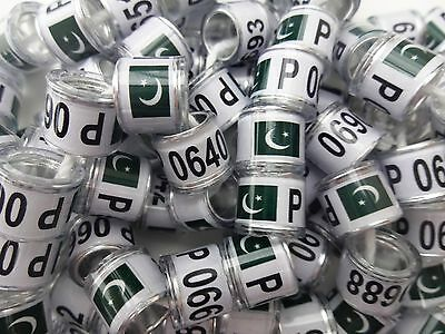20 x PAKISTAN FLAG 8mm quality pigeon rings - Supplied by 'NPR'