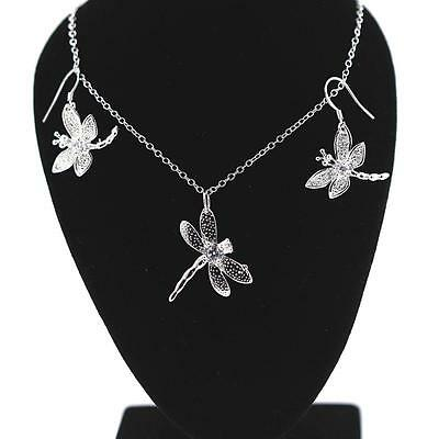 Set earrings pendant + chain Dragonfly Silver 925
