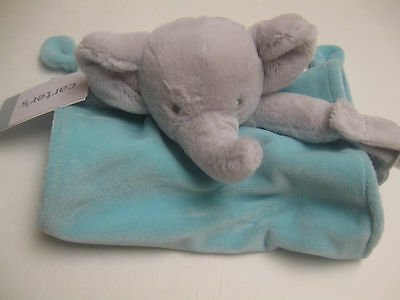 Carter's Baby Elephant security blanket with pacifier holder blue