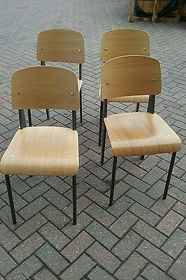 Jean Prouve metal & ply Dining Chairs x 4. Delivery.