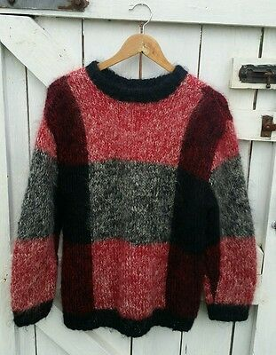 Vintage 80's mohair chequered slouchy black red jumper sweater M L