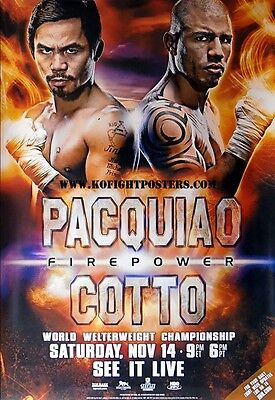 MANNY PACQUIAO vs. MIGUEL COTTO / 36in x 24in Original HBO PPV Boxing Poster