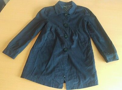 Girls Black Coat Ages 8 - 9  Spotted Lining