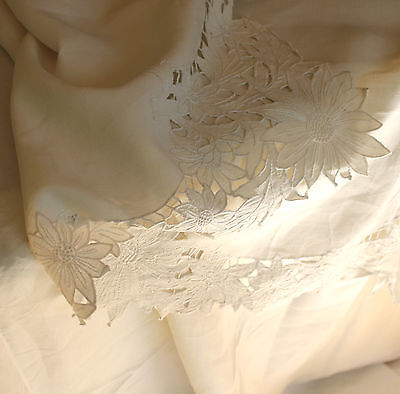 Antique French Linen and cut work lace bed sheet, hand made