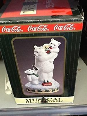 Coca Cola Town Square Collection Polar Bear Dad with Kids Musical Figurine, Very
